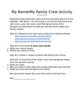 My Name Family Crest The House On Mango Street Family Crest Teaching Advice