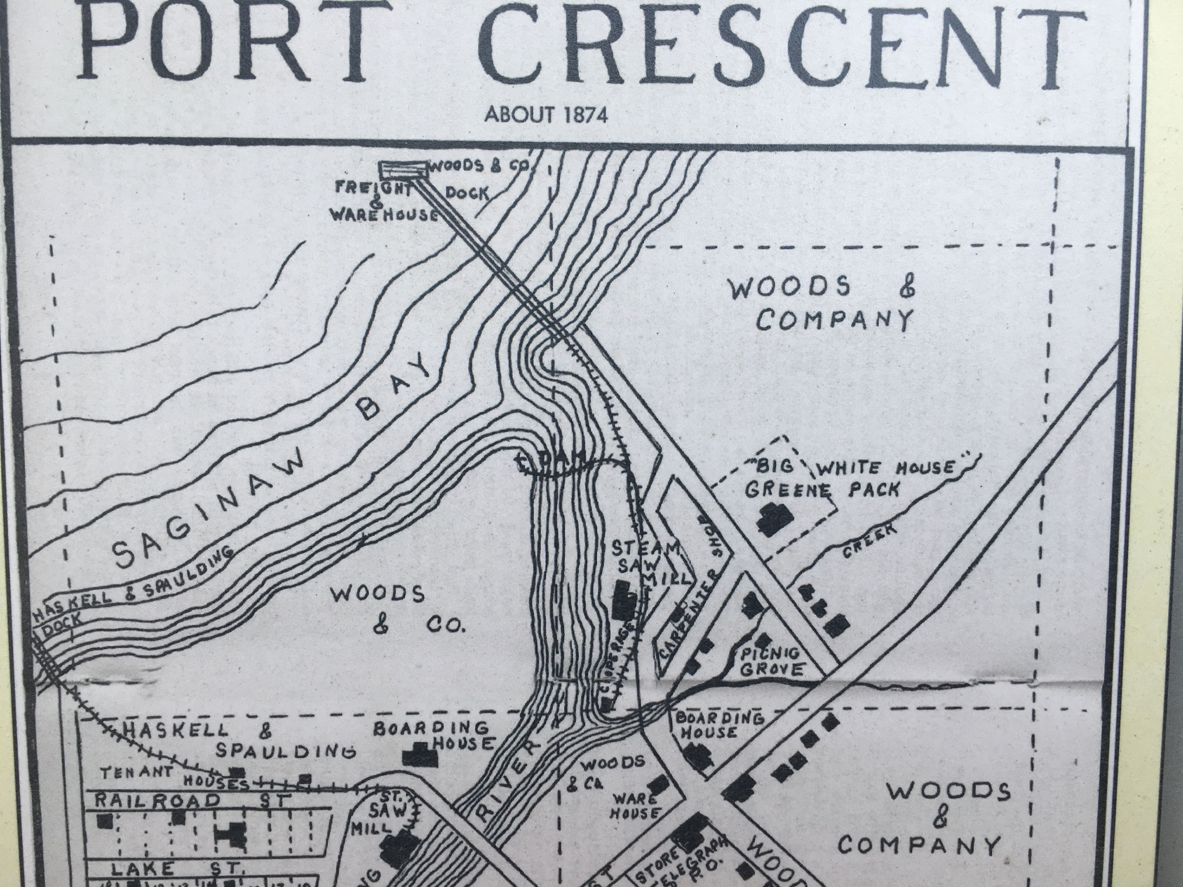 Plat Map Of The Logging Ghost Town Of Port Crescent Ghost Towns Vintage Michigan Michigan