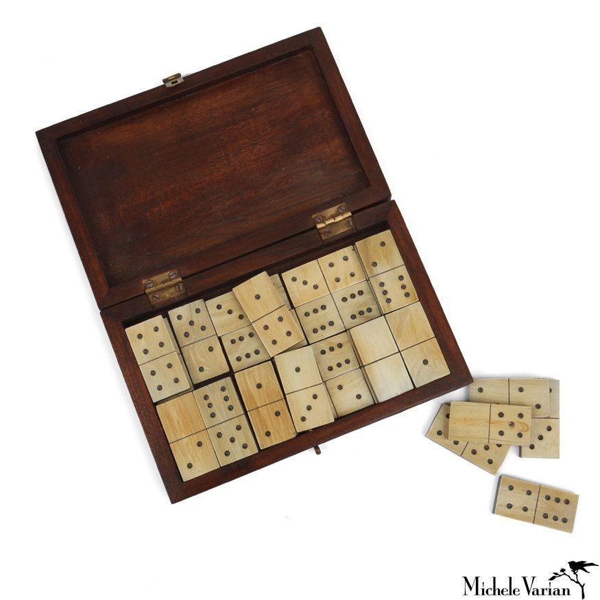 Horn domino set dominoes set vintage gifts domino