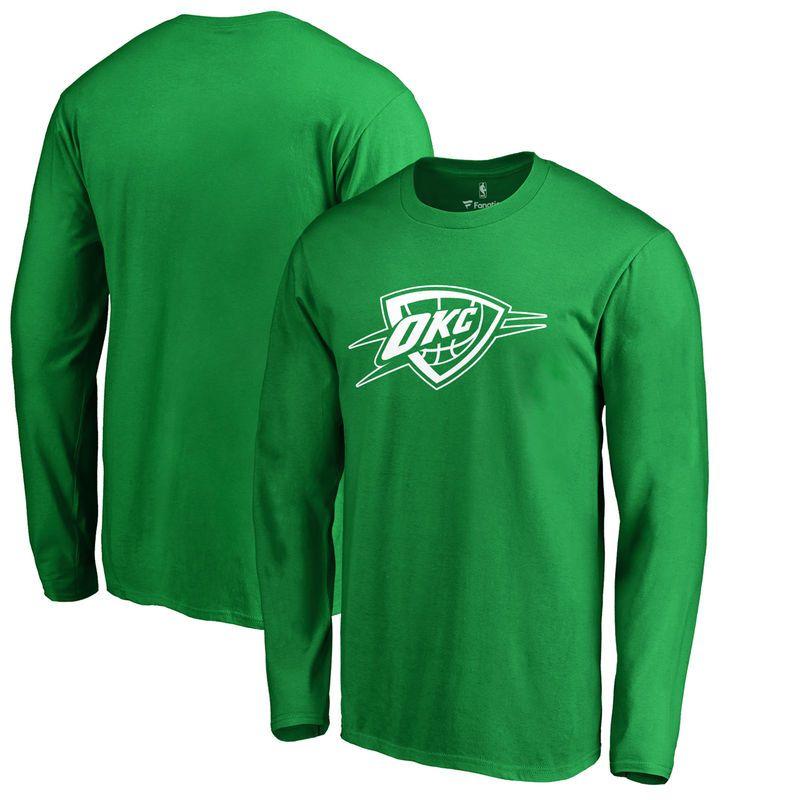 Oklahoma City Thunder Fanatics Branded St. Patrick's Day White Logo Long  Sleeve T-Shirt