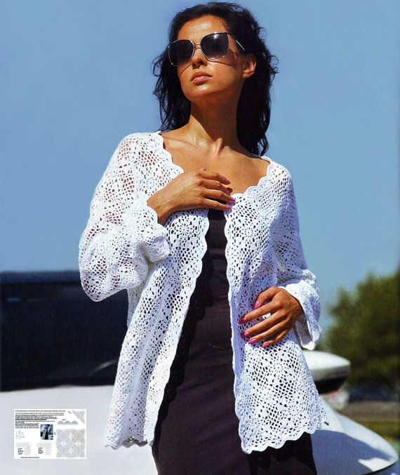 Summer crochet jacket PATTERN boho crochet por crochetCHARTpatterns