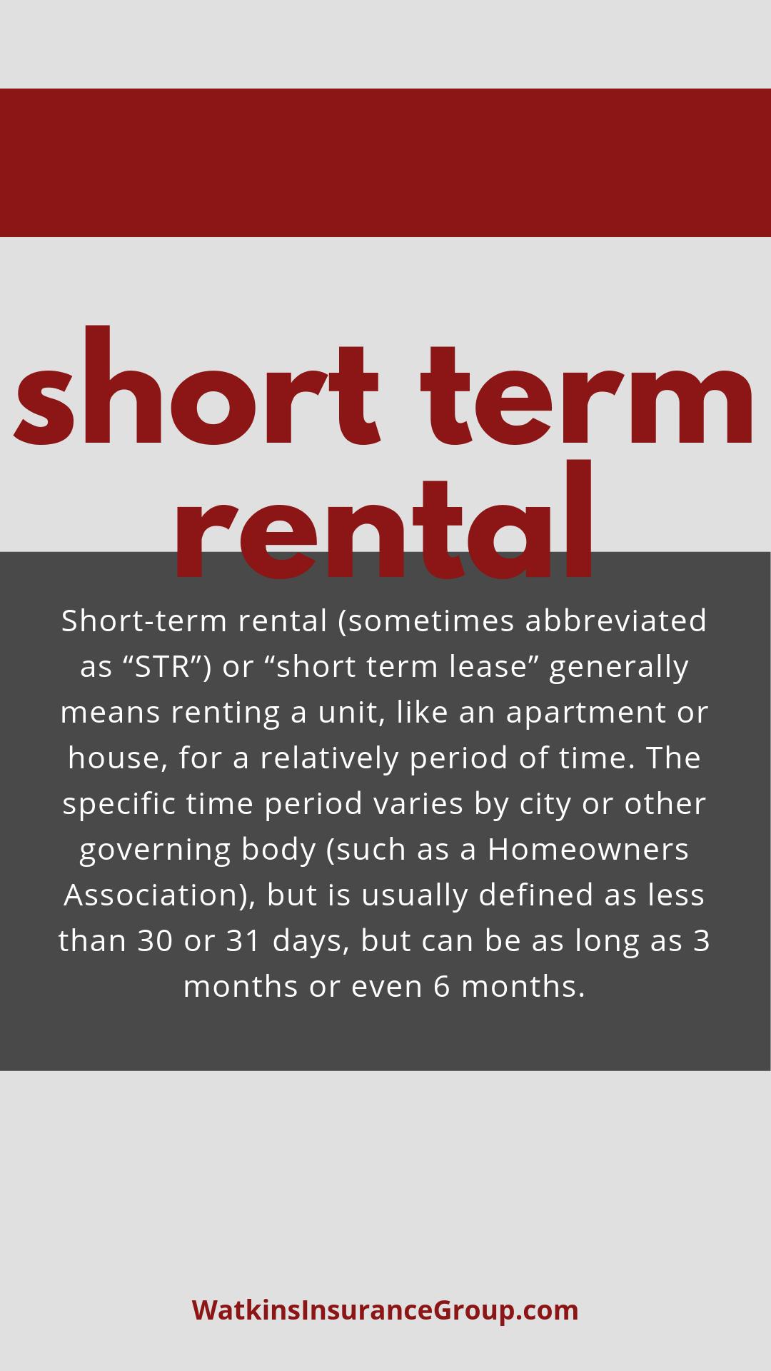 Short Term Rentals Group insurance, Flood insurance