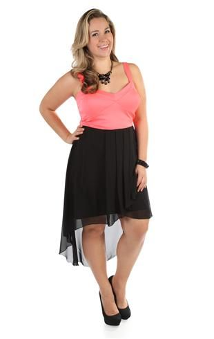 plus size neon coral corset style high low dress with