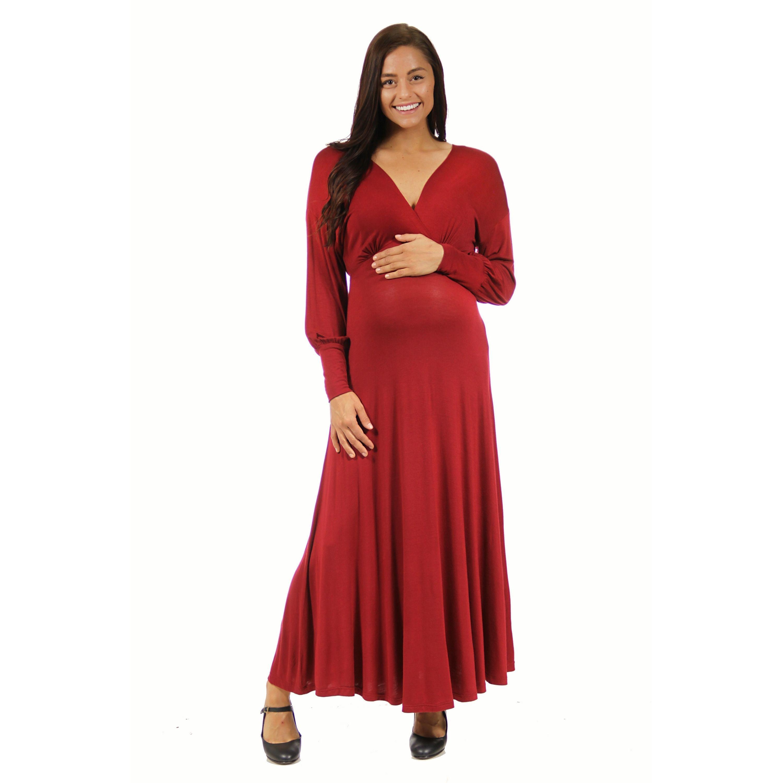 d223eccf856ab 24/7 Comfort Apparel Women's Maternity Long Sleeve Empire Maxi Dress (Red -  2X) (spandex)