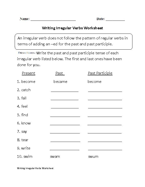 Writing With Irregular Verbs Worksheet Esl Pinterest Irregular