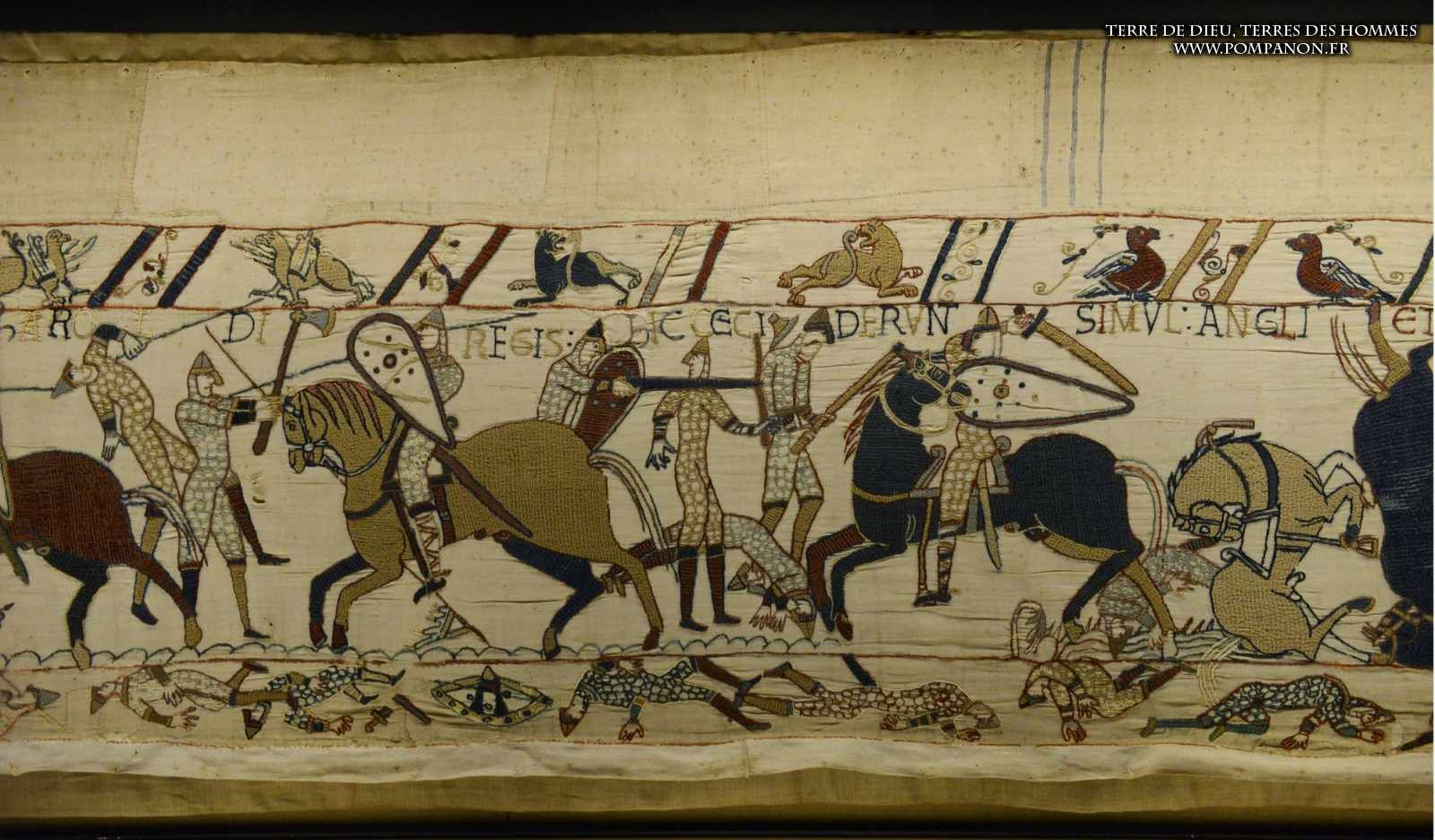 Bayeux Tapestry 53. Here English and French fell at the same time in battle