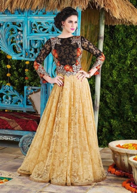 2e3ef4b52 Orange latest designer party wear Indian gown in net