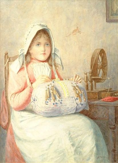 Artwork by Henry M. Terry, The young lacemaker, Made of Watercolour