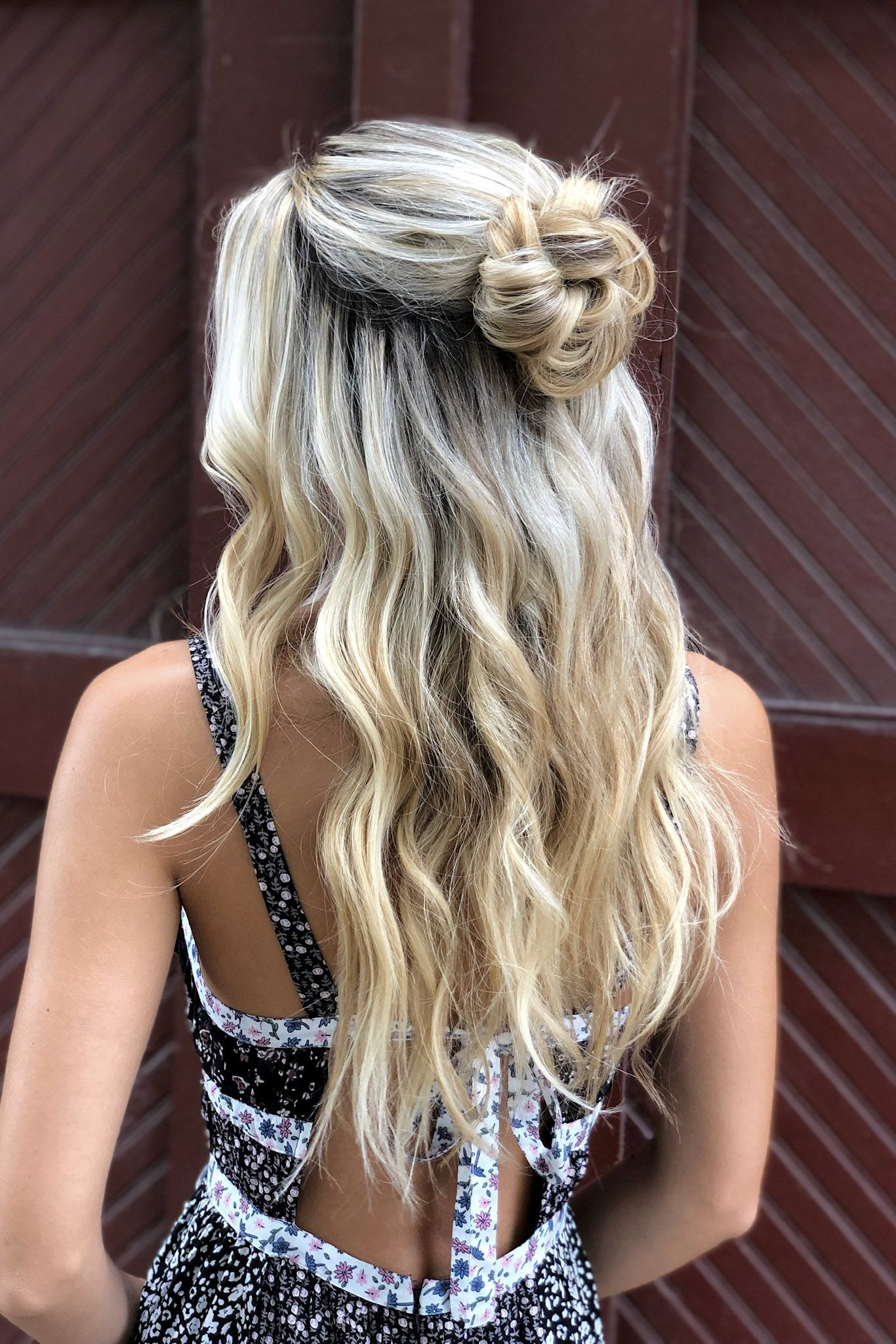 Half Up Hairstyle With Loose Waves Messy Bun Hairstyle By Goldplaited Half Bun Hairstyles Loose Waves Hair Half Up Hair