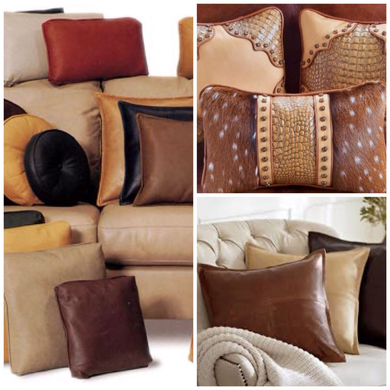 Leather Throw Pillows Sofa Accent Add Fun Color To Your Couch Or Sectional Custom Furniture With