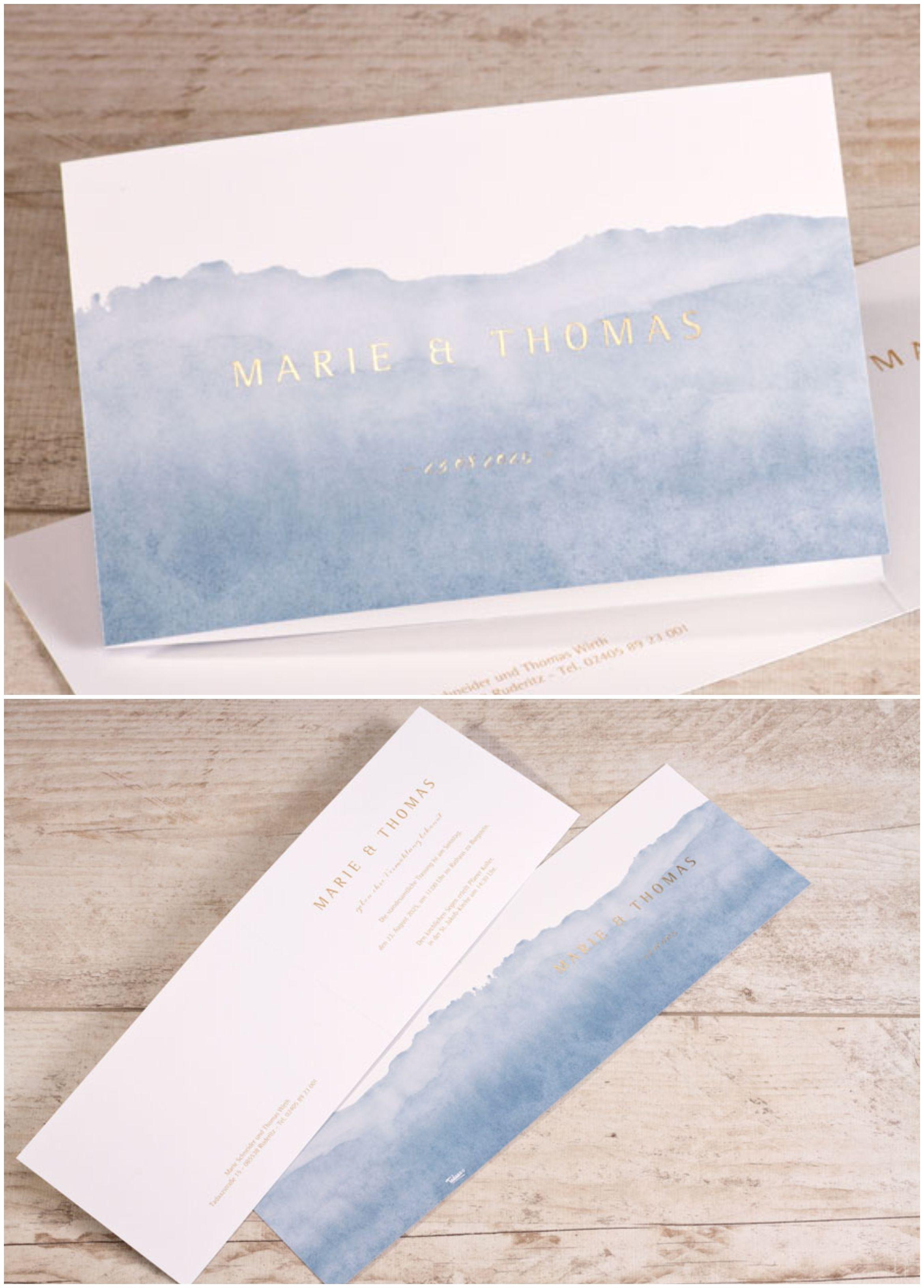 Hochzeitseinladung mit zartem Aquarell-Design Blau und Goldfolie