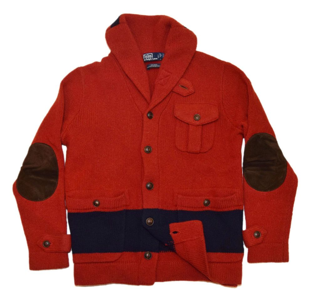 Polo Ralph Lauren Mens Shawl Wool Cardigan Sweater Suede Jacket Red Navy  Small