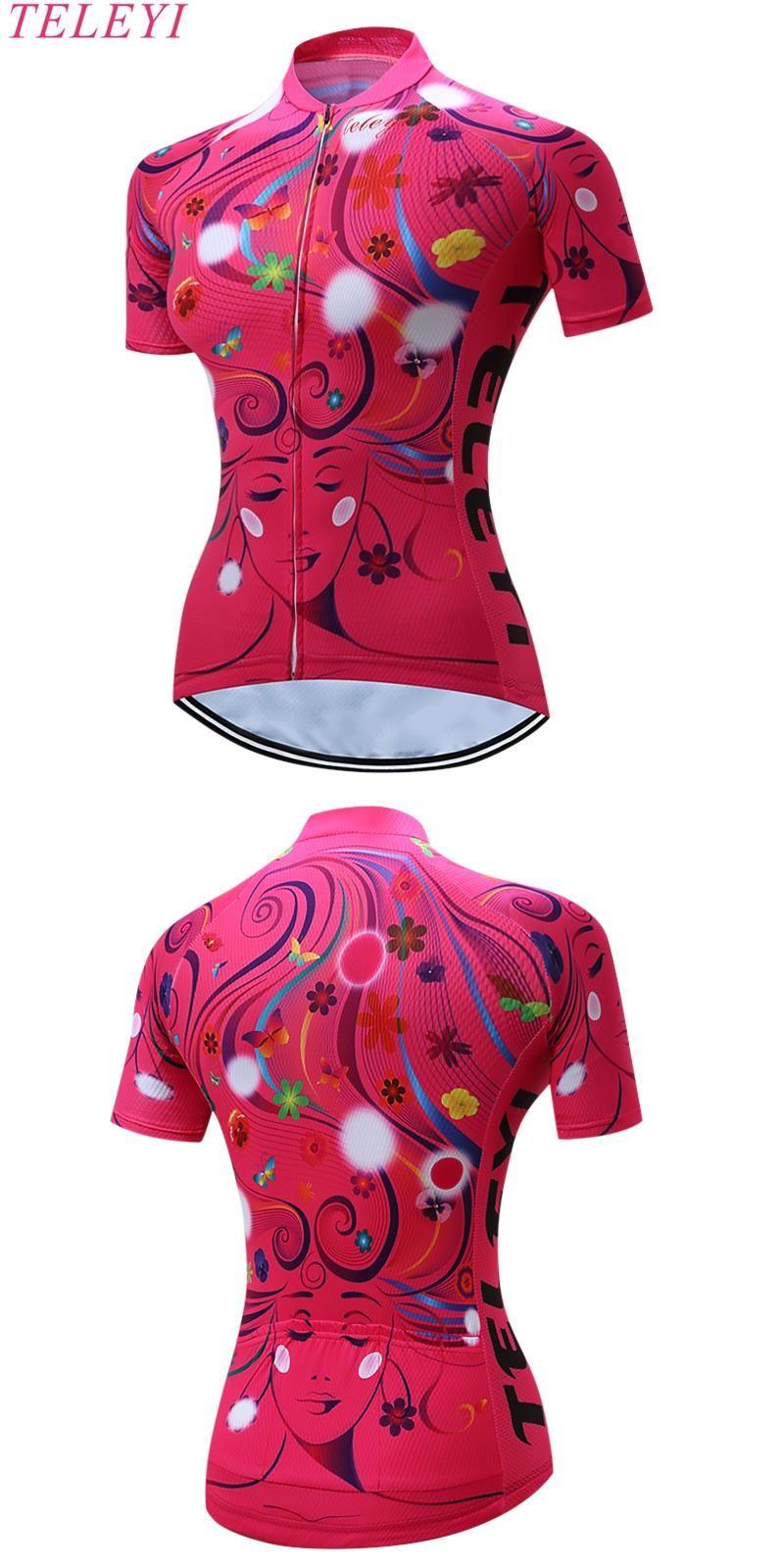 Visit to Buy  TELEYI Leopard Style Women s Cycling Jersey Shirt Tops  Summer Outdoor MTB 65baeb2da