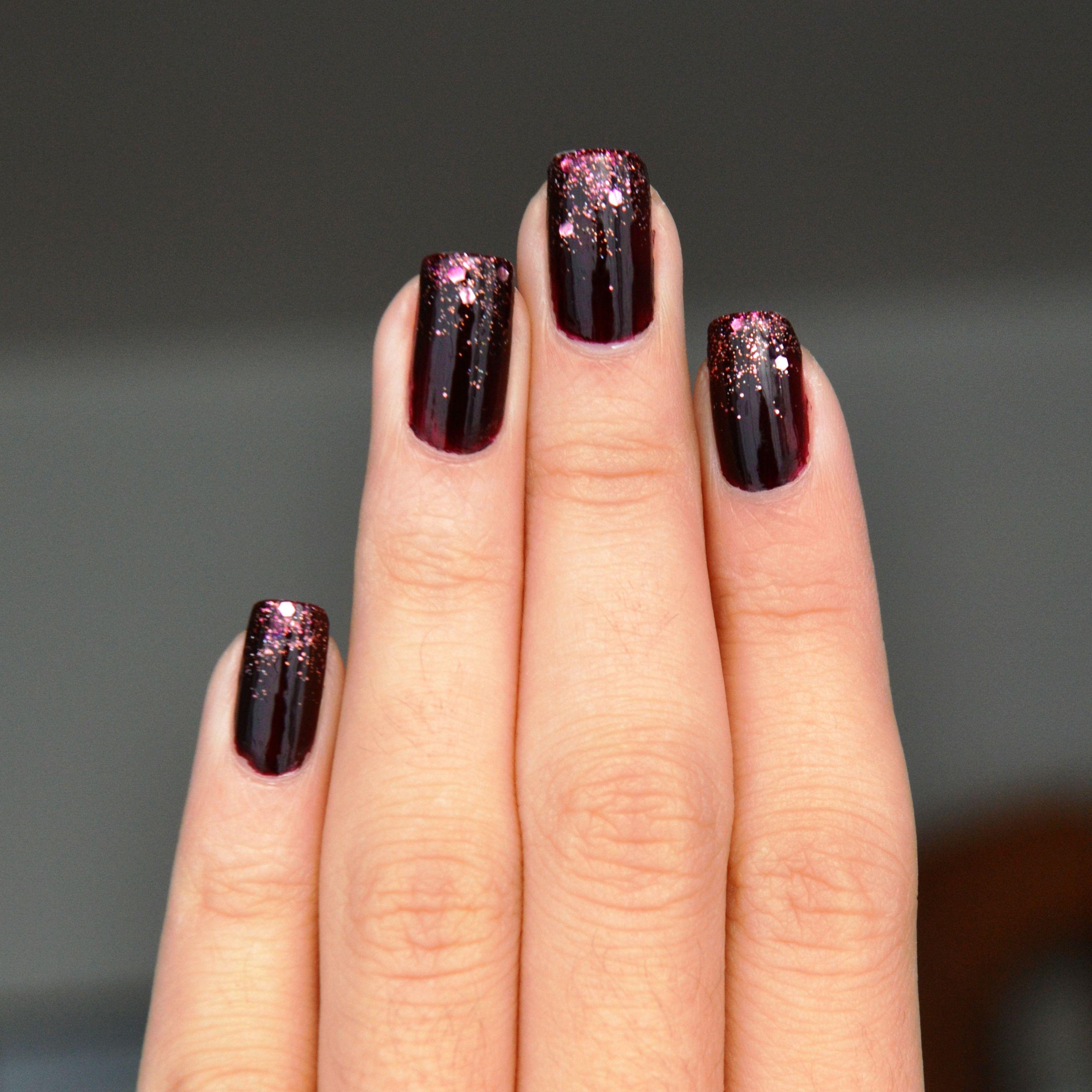 oxblood nail polish rose gold glitter