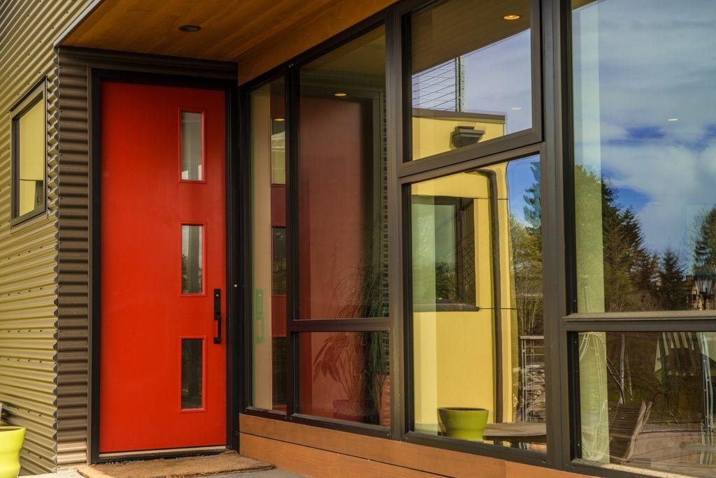 Modern Front Door With Glass Panel Door Frank Lumber The Door Store Custom Mid Century Modern Mcm 6 Exterio Modern Front Door Front Door Design Red Front Door