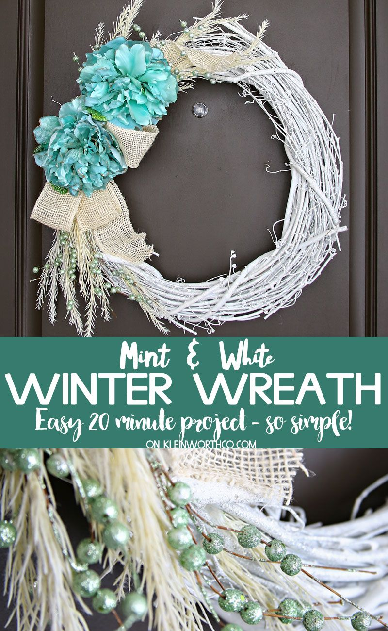 This Mint & White Winter Wreath is the perfect way to add a pop of color to your porch during the winter months. Easy to make & ready to display in about 20 minutes. via @KleinworthCo