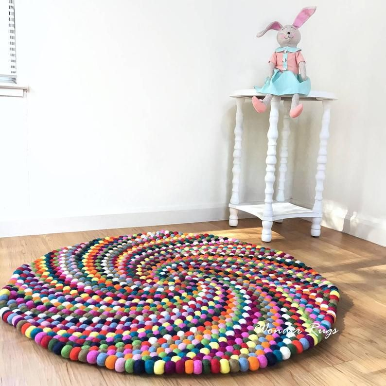 Felt Ball Rug Rainbow Colorful Pom Pom Large Rug Spiral Round Etsy In 2020 Felt Ball Rug Kids Room Rug Kids Rugs