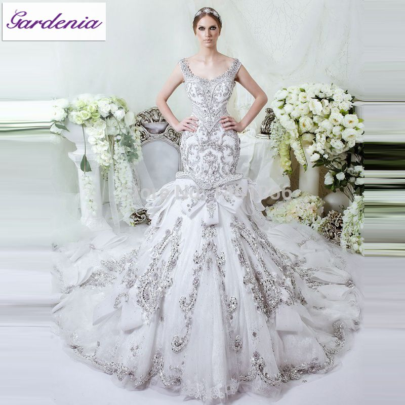 Glamorous bling wedding dress mermaid fit and flare lace for Silver beaded wedding dress