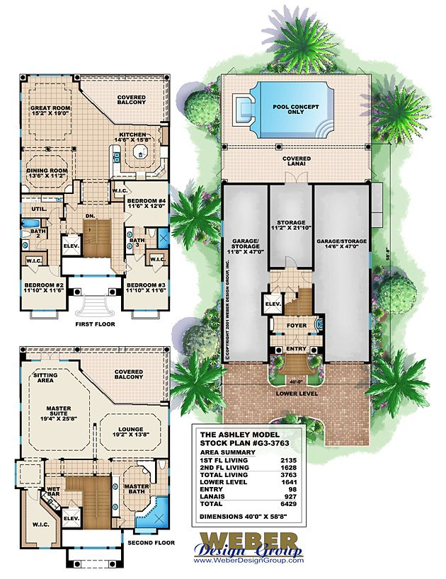 Mediterranean House Plan Coastal Narrow Lot Beach Home Floor Plan Coastal House Plans Narrow Lot House Plans House Plans