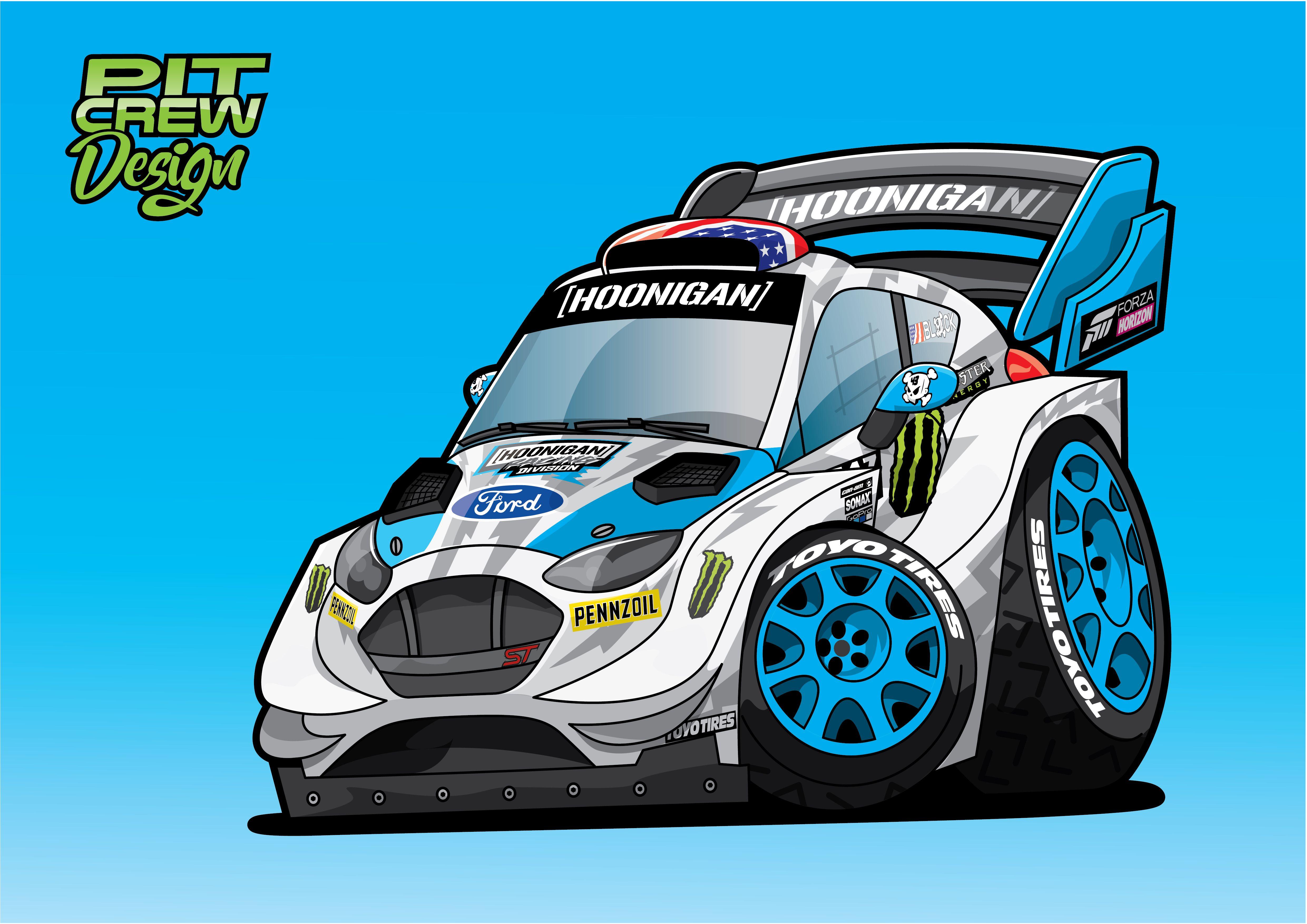 Ken Blocks Wrc Ford Fiesta Cartoon Car Cartoon Classic Cars Birthday Party Car Illustration