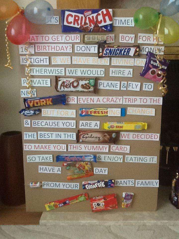 Candy Bar Birthday Card Using English Chocolate Sweets In 2020 Candy Bar Birthday Birthday Presents For Boys Chocolate Card