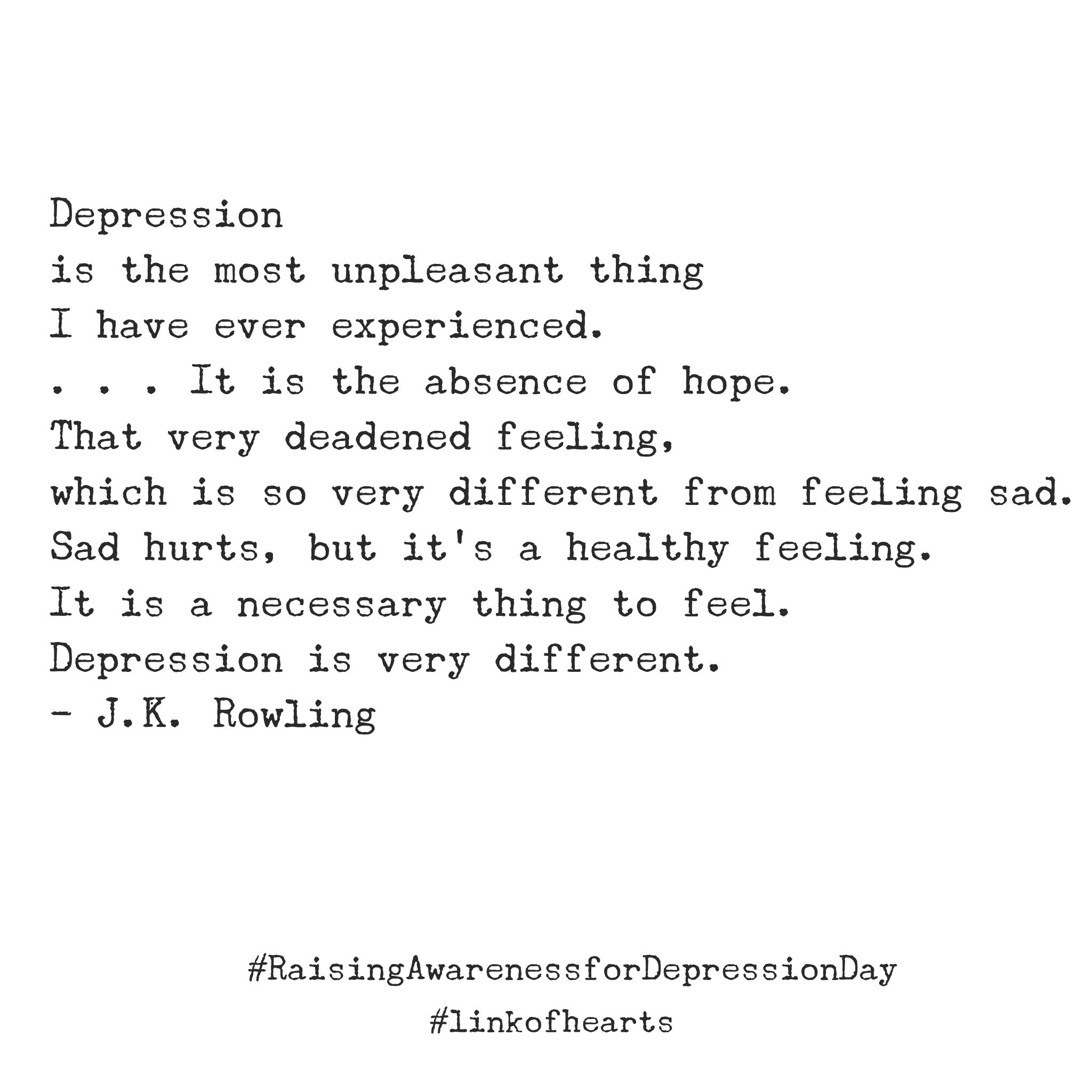 Quote about depression from JK Rowling