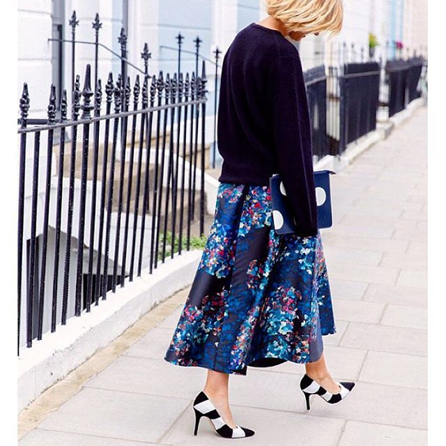 54f50da322 Big sweaters, girly skirts and heels. Our Kensal #socialskirt and Fernie  heels worn by blogger, The Frugality