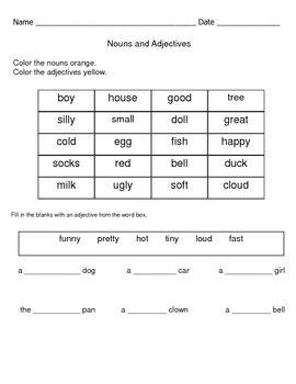 Nouns and Adjectives Review Worksheets | Teaching resource ...