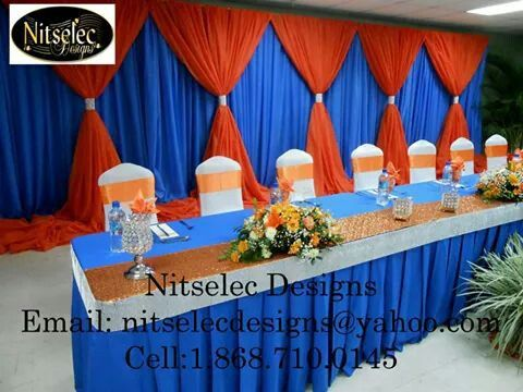 Headtable And Backdrop Burnt Orange Weddings Blue Orange