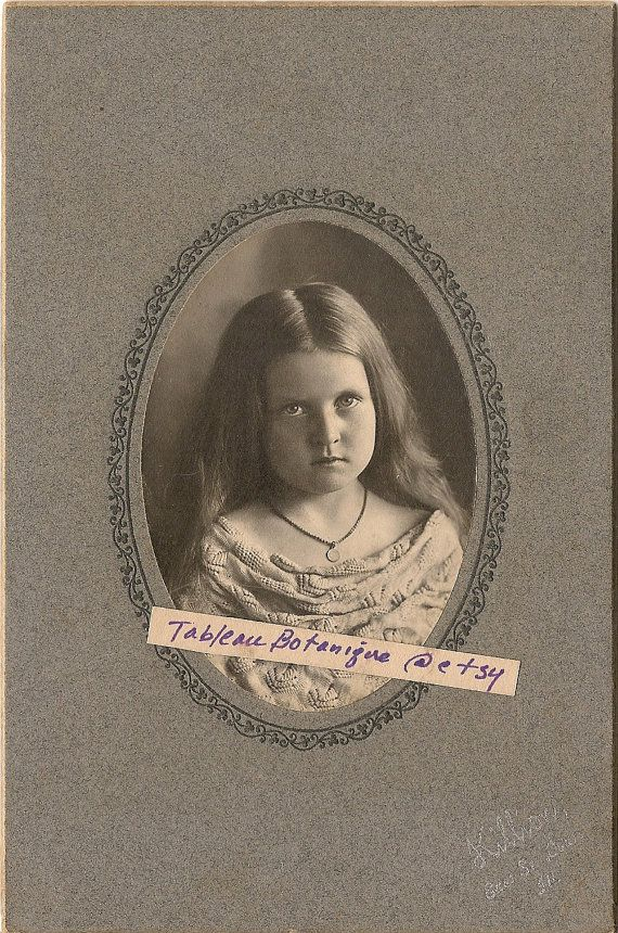 Cabinet Photo Edwardian Girl in Crocheted by TableauBotanique, $26.00