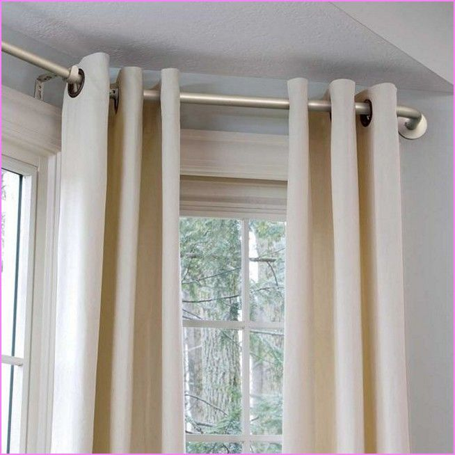diy bay window curtain rod home decor bay window. Black Bedroom Furniture Sets. Home Design Ideas