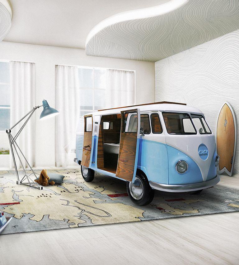 Una cama como una volkswagen de sueño y surf.