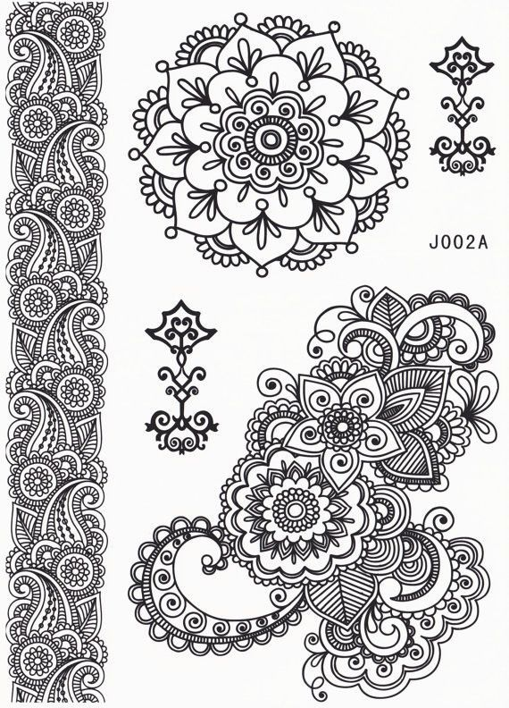 Aponi Black Henna Mandala Temporary Tattoo | Herzstück, Tattoo ...