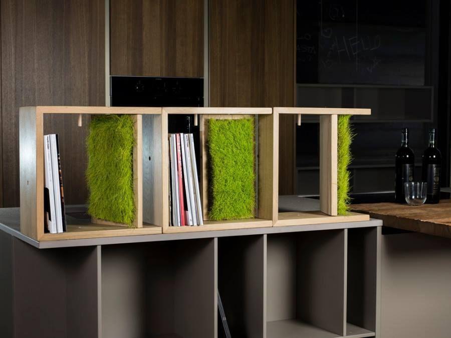 Arredamento Libreria ~ Bookshelves with real stabilized #meadow by #linfadecor #libreria