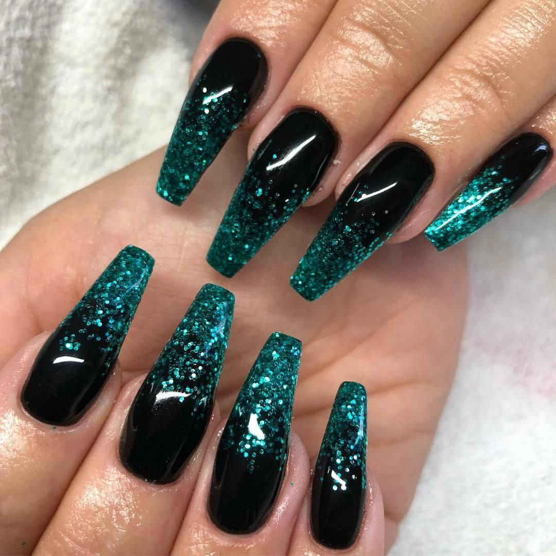 65 Popular Gel Glitter Coffin Nail Designs