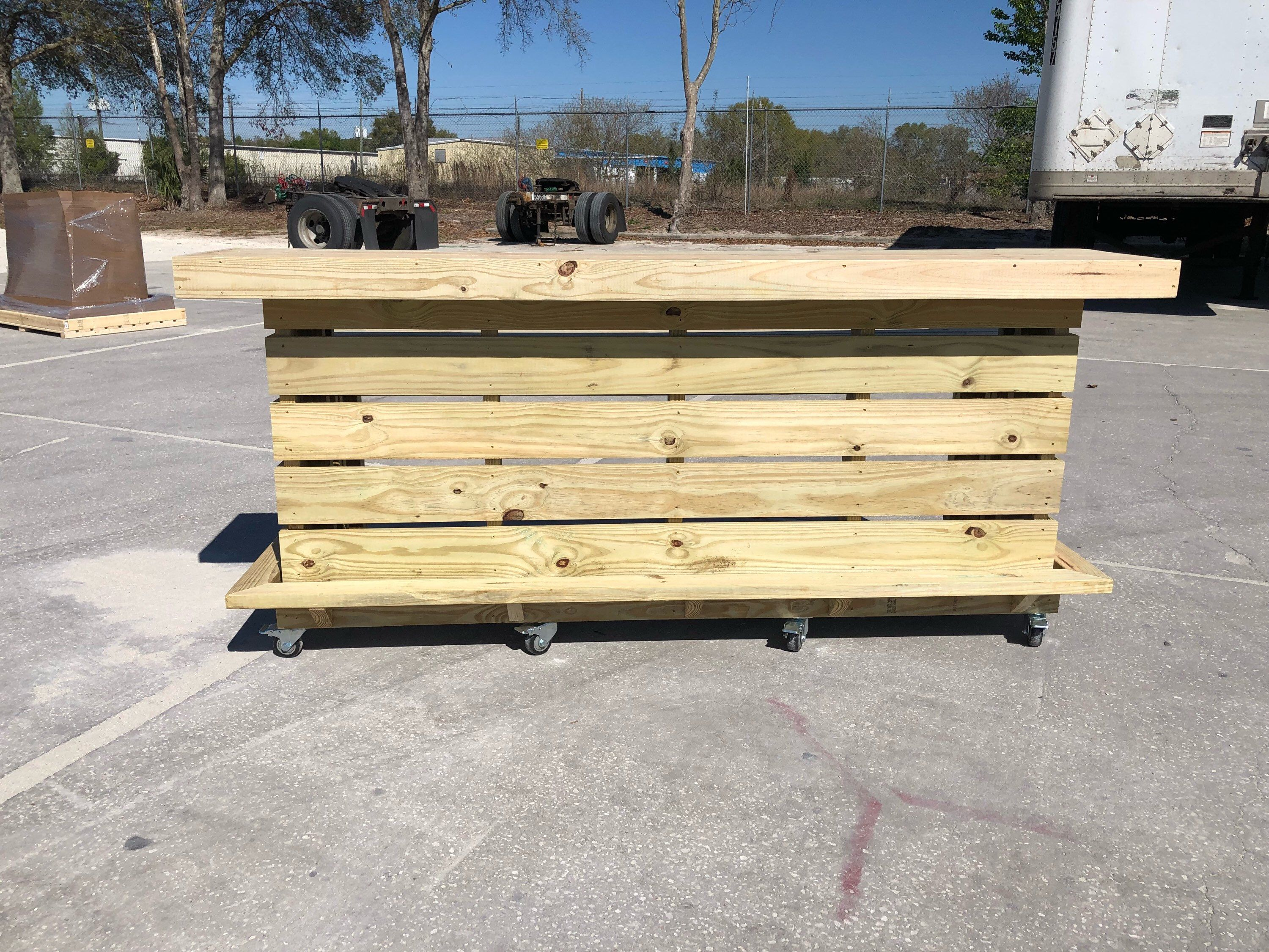 8\' 2 level pallet style pressure treated outdoor bar. https://www ...