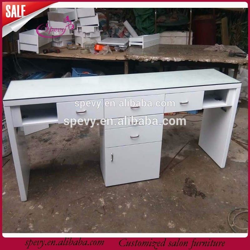Glass Top Nail Table Double Manicure Bar Table For Sale