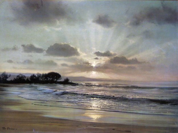 Twilight Surf By Peter Ellenshaw Surf Painting Seascape Paintings Oil Painting Landscape