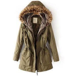 Faux fur olive green parka | Fashion | Pinterest | Green parka ...