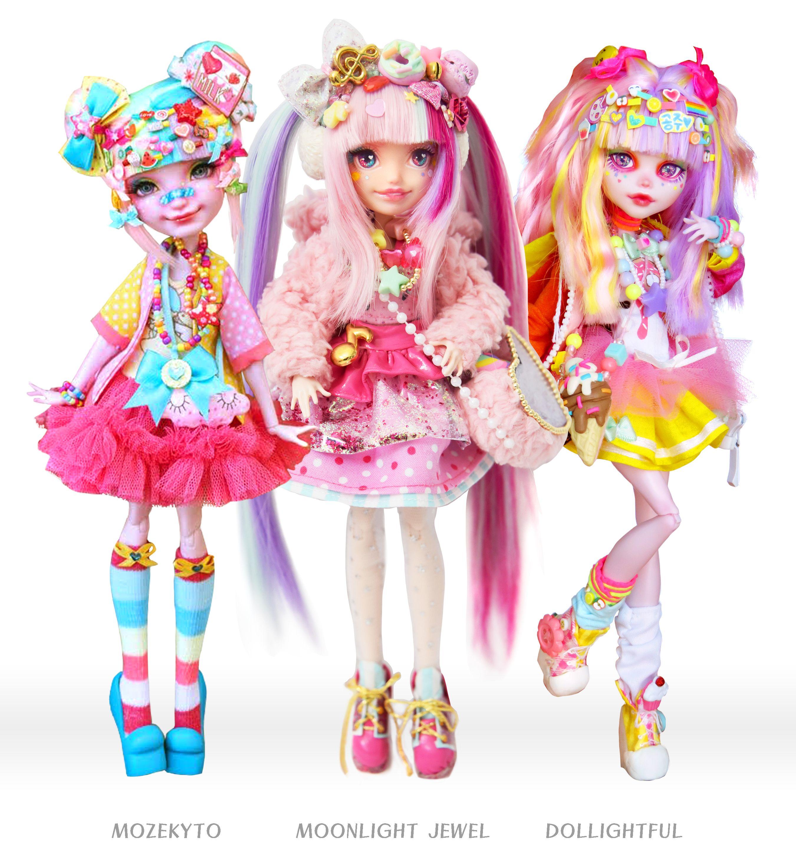 Decora Trio! The Harajuku Japanese fashion dolls by Mozekyto, Moonlight Jewel, and Dollightful. #dolls