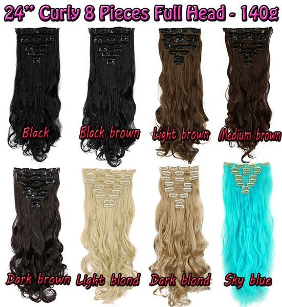 Geek 2461cm Real Thick 8 Piece Full Head Long Curly Clip In