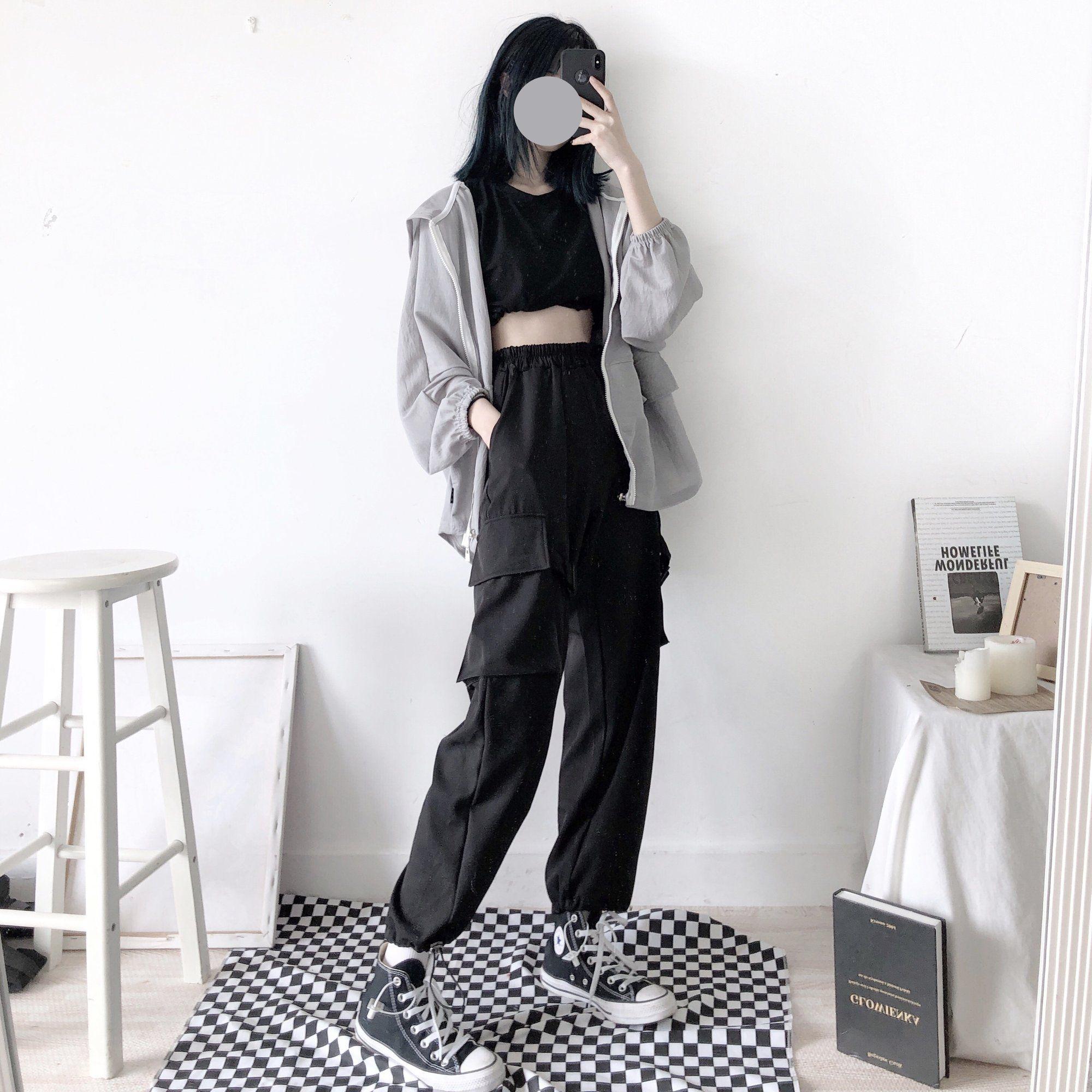 Photo of Unisex fashion black pocket wide leg pants by63059