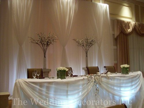 love this head table but maybe with green material for the swags