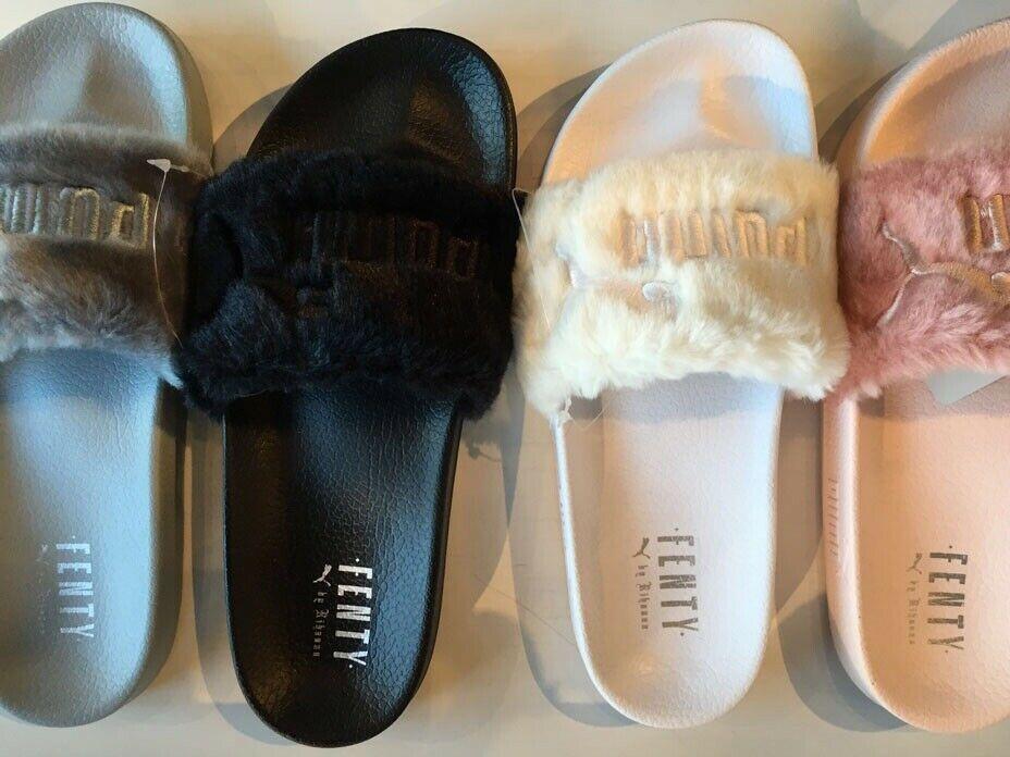 NEW Puma Rihanna Fenty Fur Slides Pink Black Grey White Bow ...