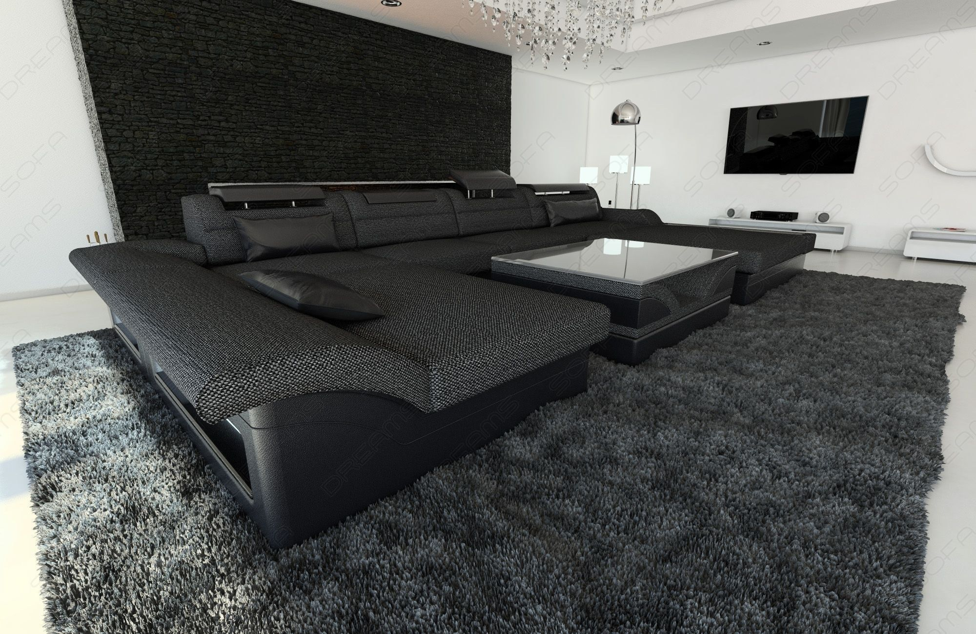 Fabric Sectional Sofa Chicago LED | Luxusschlafzimmer ...