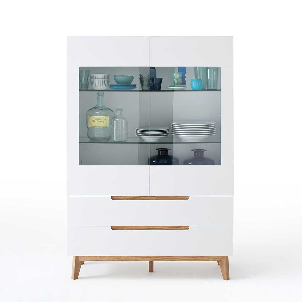 Kommode Glas esszimmer highboard in weiß eiche massiv glas highboard
