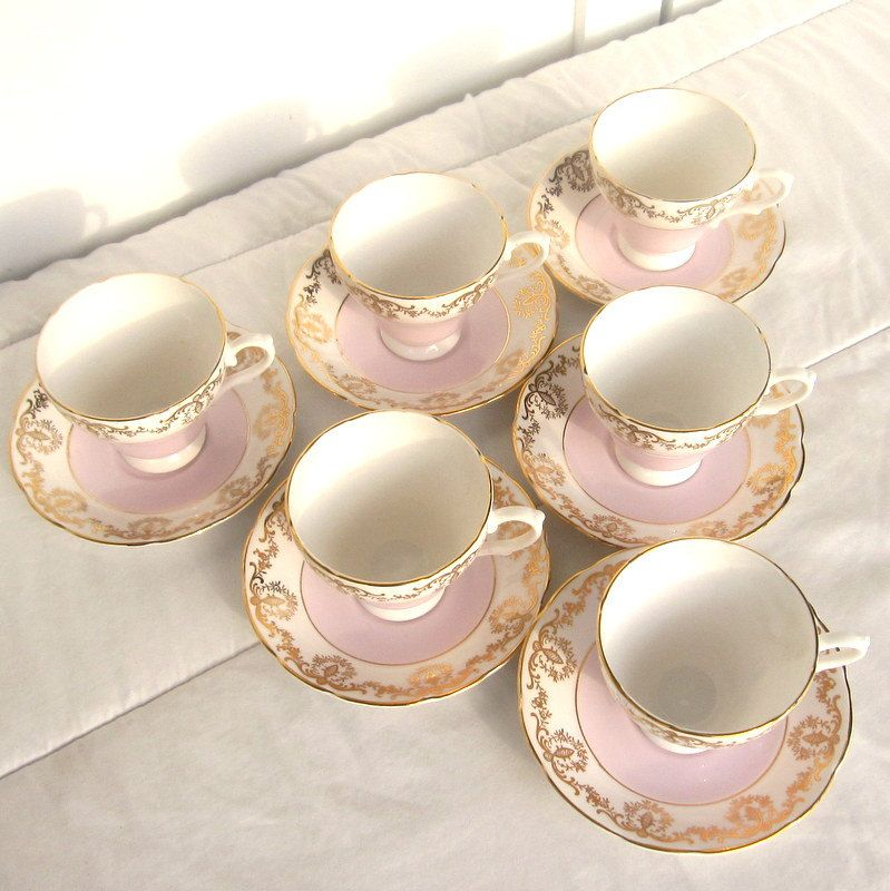 Bone China Teacup and Saucer Set of 6 Sutherland Staffordshire England Cream, Light Pink and Gold. $110.00, via Etsy.