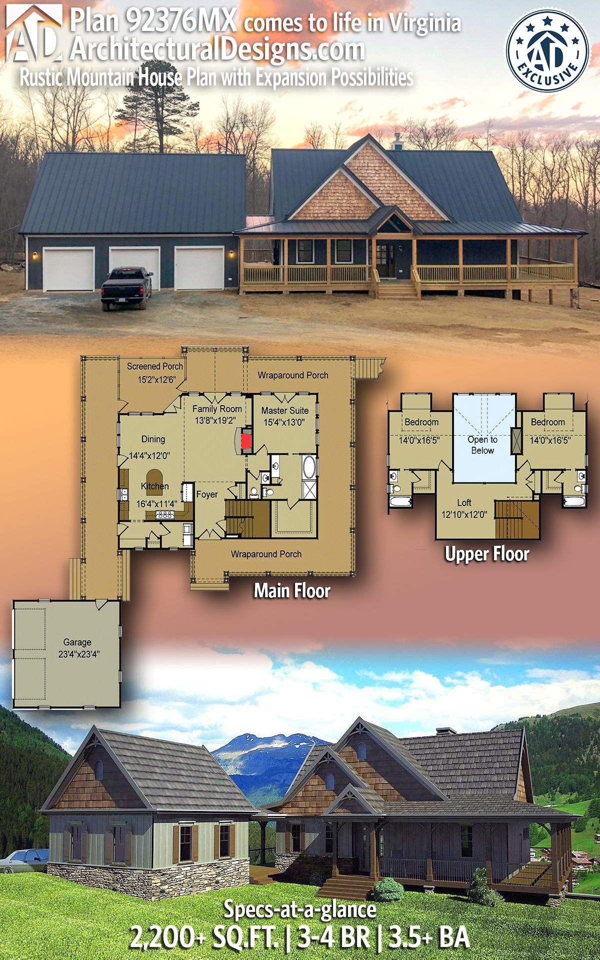 Plan 92376mx Rustic Mountain House Plan With Expansion Possibilities In 2020 Mountain House Plans House Plans How To Plan