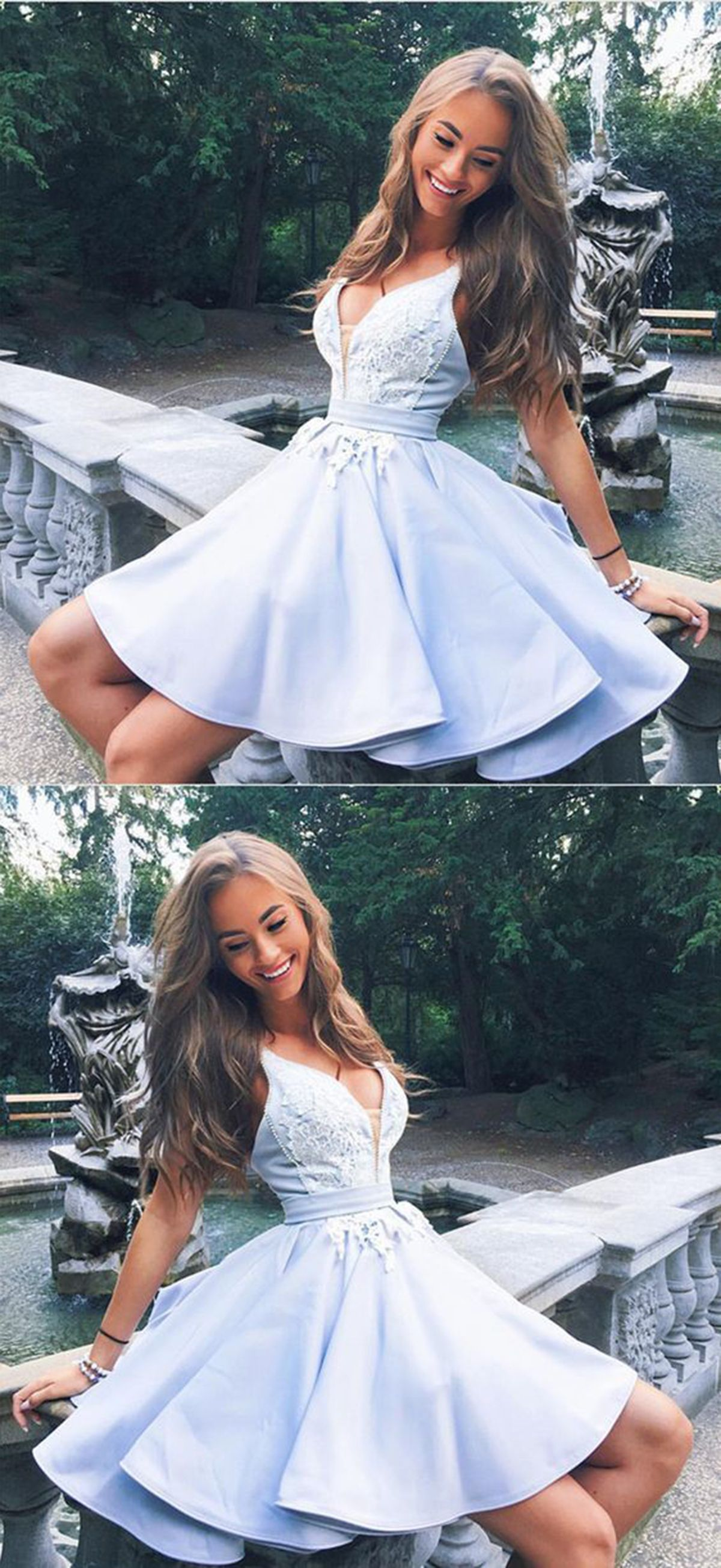Graduation Prom Dress A V Neck Ice Blue Satin Short Prom Dress For Teens Prom Dress Homecomin Satin Homecoming Dress Hoco Dresses Homecoming Dresses Short [ 2610 x 1200 Pixel ]
