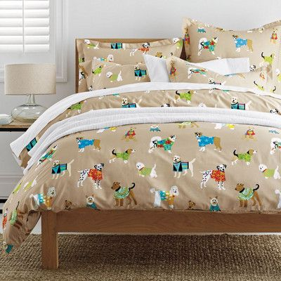 Whimsical Dog Themed Sheets Bedding Set Featuring A Mix Of Dogs Decked Out In Summer Attire Shop Bedding At The Compan Girls Bedding Sets Bedroom Themes Bed